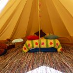 Bowacre Retreat Bell tent glamping interior