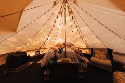 The Orchard Glamping - Bell tent interior