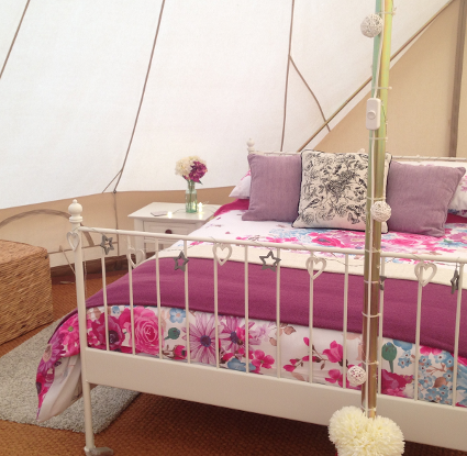 Keepers Meadow glamping Bell tent interior