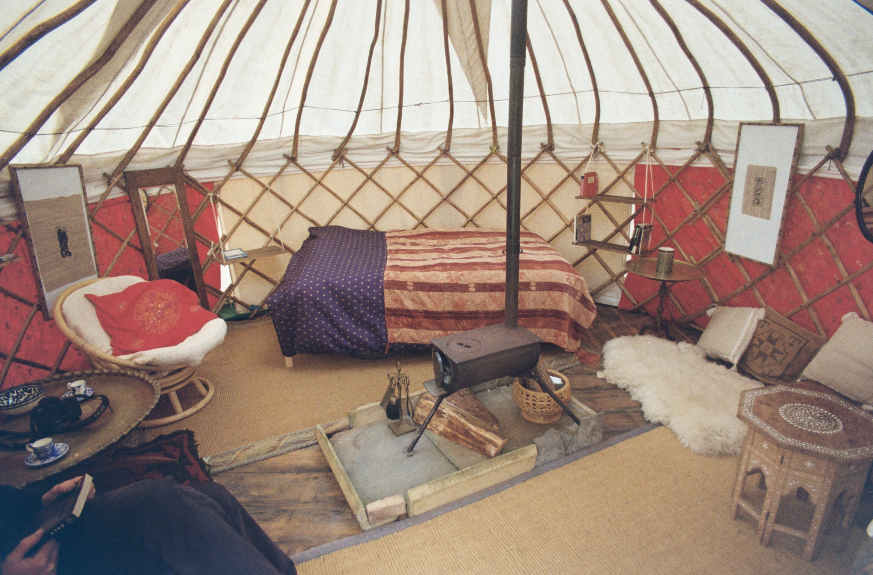 Wheems Organic Farm glamping yurt interior
